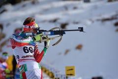 Cheile Gradistei, Rumänien - 24. Januar: Unbekannter Konkurrent in IBU Youth& Junior World Championships Biathlon 24. Lizenzfreies Stockfoto