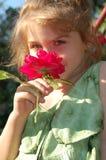 Cheirando uma rosa Imagens de Stock