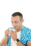 Cheiro loving do café na manhã Imagem de Stock Royalty Free