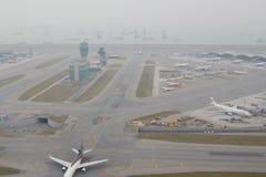 Chek膝部Kok机场, HK hight视图  免版税库存图片
