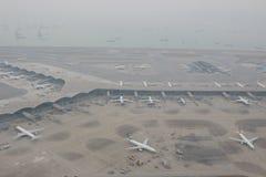 Chek膝部Kok机场, HK hight视图  免版税库存照片