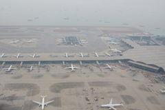 Chek膝部Kok机场, HK hight视图  库存图片