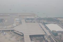 Chek膝部Kok机场, HK hight视图  库存照片