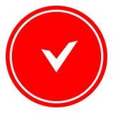 Chek, autorización, icono del sí aprobó el ejemplo del vector en fondo rojo fotos de archivo