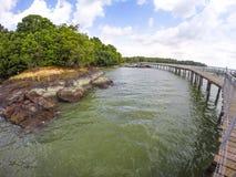 Chek Java. Boardwalk in pulau ubin Singapore royalty free stock photos