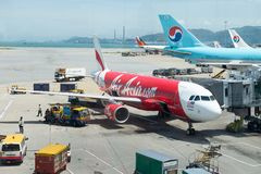 Chek podołek Kok, Hong Kong - Lotniczy Azja lot przy Hon obraz stock