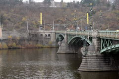 Chekhov bridge on the Vltava river. Stock Photo