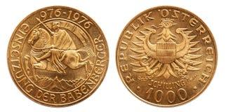 Chelín Babenberger 1976 de la moneda de oro de Austria 1000 imagen de archivo libre de regalías