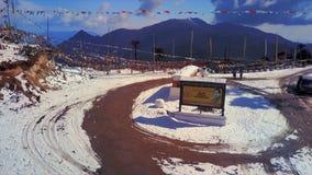 Chele La通行证天线在不丹 股票录像