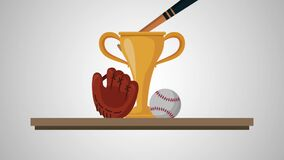 Chelf with trophy baseball animation. Animation stock video footage