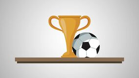 Chelf with trophy soccer animation. Illustration design stock video footage