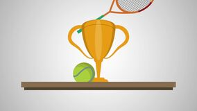 Chelf with trophy tennis animation. Animation stock video footage