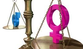 Échelle de équilibrage d'égalité entre les sexes Images stock