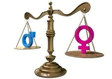 Échelle de équilibrage d'égalité entre les sexes Photos stock