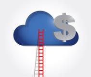 échelle à un nuage d'argent Illustration Photo stock