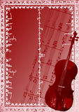 Chello background vector. Chello background with floral frame,useful promote any music event Royalty Free Stock Image