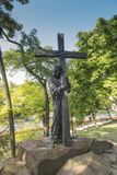 Chelm, Poland, 10 September 2018: Calvary around the Basilica of. The Blessed Virgin Mary in Chelm, sculpture by Jacek Kicinski - station 2, Jesus accepts his stock photos