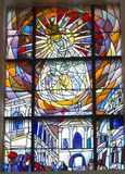 Chelm, Poland, 10 September 2018: Stained glass with the image o. F Mary in the window of the church, the shrine of Our Lady in Chelm in eastern Poland royalty free stock photo
