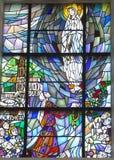 Chelm, Polen, 10 September 2018: Gebrandschilderd glas met het beeld o royalty-vrije stock afbeelding