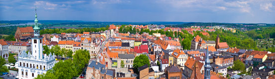 Chelmno city aerial view on old town centre Royalty Free Stock Images