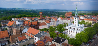 Chelmno city aerial view on old town centre Royalty Free Stock Photo