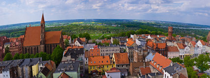 Chelmno city aerial view on old town centre Stock Image