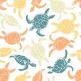 Cheloniidae mönstrad seamless sköldpaddor silhouette Djur värld under vatten hav royaltyfri illustrationer