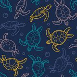 Cheloniidae. Seamless pattern with turtles. Linear graphics. Animal world under water. Ocean. Vector illustration Stock Images