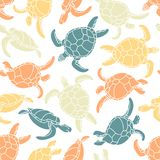 Cheloniidae. Seamless pattern with turtles. Silhouette. Animal world under water. Ocean. Vector illustration Stock Photo