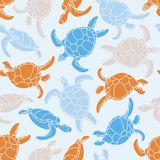 Cheloniidae. Seamless pattern with turtles. Silhouette. Animal world under water. Ocean. Vector illustration Stock Images