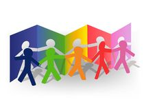 Chelovechky. Multicolored paper men composition,  illustration Royalty Free Stock Photography