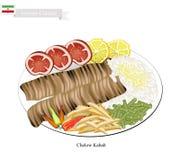 Chelow Kabab, den nationella maträtten av Iran royaltyfri illustrationer