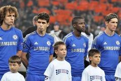 Chelsea足球运动员纵向 库存图片