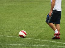 Chelsea 3. Chelsea footballer preparing to kick a soccer ball royalty free stock photos