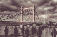 Chelsea Bridge retro. Retro picture of the Chelsea Bridge over the river Thames, London, England Royalty Free Stock Photography