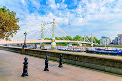 Chelsea bridge on a sunny day. Riverside view of Chelsea bridge on a sunny day royalty free stock photography