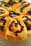 Chelsea Bun. Delicious chelsea bun with dried fruit ready to serve stock photo