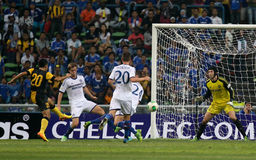 Chelsea defense. SHAH ALAM - JULY 21: Chelsea Football Club defenders (white jersey) and goalkeeper Petr Cech defend an attempt at goal by Malaysian striker Mohd Stock Photography
