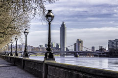 Chelsea Embankment. View on the river Thames from the Chelsea Embankment, London, UK stock photos