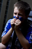 Chelsea fan watching TV Stock Image