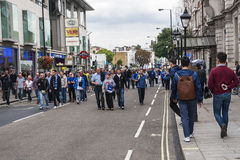 Chelsea fans after the match Stock Photo