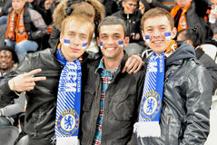 Chelsea fans with painted faces Stock Images
