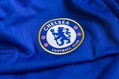 Chelsea FC emblem. Chelsea FC emblem on Chelsea FC blue jersey Royalty Free Stock Photos