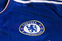 Chelsea FC emblem. Chelsea FC emblem on Chelsea FC blue jersey Royalty Free Stock Photo
