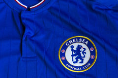 Chelsea FC emblem. Chelsea FC emblem on Chelsea FC blue jersey stock photos