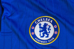 Chelsea FC emblem. Chelsea FC emblem on Chelsea FC blue jersey Stock Images