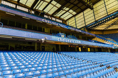 Chelsea FC Stamford Bridge Stadium. Empty seats on a non-match day at the Chelsea  Football Club Stamford Bridge Stadium, London, United Kingdom.  The stadium Stock Image