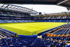 Chelsea FC Stamford Bridge Stadium. Chelsea Football Club Stamford Bridge Stadium, London, United Kingdom.  The stadium capacity is 41,837 making it the eighth Stock Photos