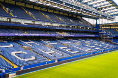 Chelsea FC Stamford Bridge Stadium. Chelsea Football Club Stamford Bridge Stadium, London, United Kingdom.  The stadium capacity is 41,837 making it the eighth Royalty Free Stock Images