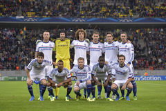 Chelsea - Line up. Chelsea London football team pictured before the UEFA Champions League game against Steaua Bucharest. Chelsea won the match, 4-0 Stock Photos